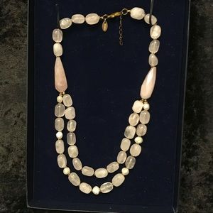 Stauer Double rose quartz and pearl necklace